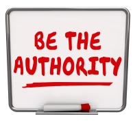 Be the Authority words on a dry erase board offering advice to p