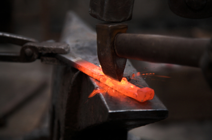 blacksmith hot iron close up